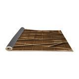 East Urban Home Striped Brown Rug Polyester/Wool in White, Size 36.0 H x 36.0 W x 0.35 D in   Wayfair AF882AC983D647C6A3AC9272F7E2866E