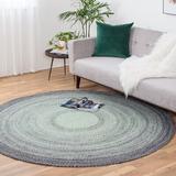 Latitude Run® Svartalfheim Round Geometric Handmade Braided Gray/Green Area Rug Polyester in Brown/Green, Size 96.0 H x 96.0 W x 0.25 D in | Wayfair