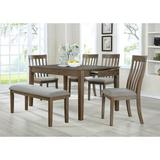 Rosalind Wheeler Gleason 6 Piece Dining Set, Wood/Upholstered Chairs in Brown/Gray, Size Medium (Seats 5 to 7) | Wayfair