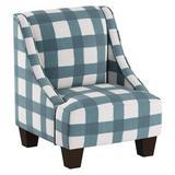 Harriet Bee Foxx Swoop Arm Chair Upholstered in White/Blue, Size 22.0 H x 18.0 W x 18.0 D in | Wayfair 05DE0BAFC64E42FA96F97C25CDDAA03C