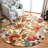 World Menagerie Arber Floral Handmade Tufted Wool Multicolor Area Rug Wool in Brown, Size 72.0 H x 72.0 W x 0.63 D in | Wayfair JAR952A-6R