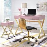 Everly Quinn Boonvile Desk w/ End Table Wood/Metal in Pink, Size 31.0 H x 42.0 W x 19.0 D in   Wayfair AEE135EC3278459593296EBD9F68818A