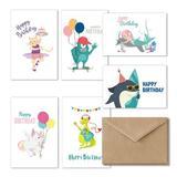 Cavepop kids Happy Birthday Cards - Set Of 36 in Green, Size 6.0 H x 4.0 W x 0.05 D in | Wayfair HCS-KDBDCD-WT