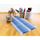 Highland Dunes Slate Plaid Hand Knotted Cotton Blue Area Rug Cotton in White, Size 60.0 H x 36.0 W x 1.0 D in   Wayfair