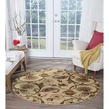 Fairfield Beige 8 Foot Round Area Rug for Living Room - Bedroom or Dining - Transitional Rugs Floral Carpet