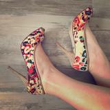 Nine West Shoes | Abstract Colorful Fall Heels | Color: Cream/Tan | Size: 7.5