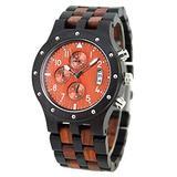 Mens Wooden Watch Digital Quartz Men's Watch Wooden Strap Chronograph Quartz Analog Movement Date Display