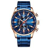 Curren Black Gold Watch for Men Fashion Quartz Sports Wristwatch Chronograph Clock Date Watches Stainless Steel Male Watch (Rose Gold Blue)