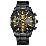 Curren Black Gold Watch for Men Fashion Quartz Sports Wristwatch Chronograph Clock Date Watches Stainless Steel Male Watch (Black Black)