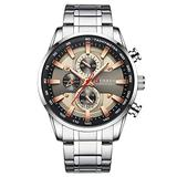Curren Black Gold Watch for Men Fashion Quartz Sports Wristwatch Chronograph Clock Date Watches Stainless Steel Male Watch (Silver Brown)