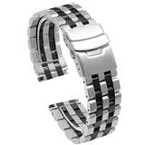 24mm Two Tone Watch Band Stainless Steel Decent Watch Strap for Men Women Elite Wrist Band Black Silver Metal Bracelet Diver Clasp