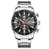 Curren Black Gold Watch for Men Fashion Quartz Sports Wristwatch Chronograph Clock Date Watches Stainless Steel Male Watch (Silver Black)