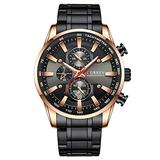 Curren Black Gold Watch for Men Fashion Quartz Sports Wristwatch Chronograph Clock Date Watches Stainless Steel Male Watch (Rose Gold Black)