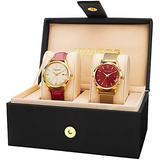 Akribos XXIV Women's Watch Set - 2 Stylish Watches One Leather Band 1 Stainless Steel Both with Stick Hour Markers and Date Window in a Beautiful Gift Box - AK973 (Red Leather/Red Dial)