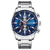 Curren Black Gold Watch for Men Fashion Quartz Sports Wristwatch Chronograph Clock Date Watches Stainless Steel Male Watch (Silver Blue)