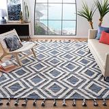 Safavieh Kenya Collection KNY331N Handmade Moroccan Tassel Wool Area Rug, 7' x 7' Square, Navy / Ivory