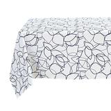 Deconovo Blue Print Waterproof Modern Geometric Table Cloth Cover Square Tablecloth for Indoor Use, 60x60 Inch, Leaf Edges-Navy