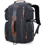 WITZMAN Canvas Backpack Large Travel Backpack for Men Backpack Duffel Bag Carry on Rucksack Hiking Bag (6661 canvas black)