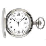 Dueber Swiss Chrome Plated Steel Pocket Watch, Arabic Numerals