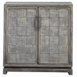 "Uttermost 25444 Hamadi 34"" Wide Wood Accent Cabinet Warm Metallic Gray"