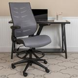 Symple Stuff Hartle High Back Mesh Drafting Chair Upholstered/Mesh in Gray, Size 52.25 H x 28.0 W x 28.0 D in | Wayfair