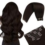 YoungSee Clip in Hair Extensions Human Hair Extensions Clip in Full Head Dark Brown Hair Extensions Clip in Human Hair with 7pcs Weft Hair Extensions Human Hair Dark Brown Hair Extensions 16in 100g
