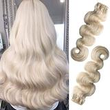 Curly Real Hair Extensions Clip in Human Hair Platinum Blonde Real Hair Extensions Clip on Human Hair Body Wave Full Head 8 Pieces Thick Hair Extension 180g for Women 22Inch