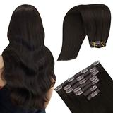 YoungSee Hair Extensions Clip in Hair Extensions Brown Human Hair Extensions Remy Hair Extensions Double Weft Hair Extensions Seamless Clips in Human Hair Dark Brown Hair Extensions 12in 7pcs 70g