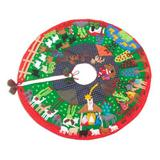 Cotton blend patchwork tree skirt, 'Christmas Time'