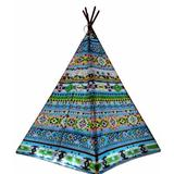 e-Joy Triangular Play Tent 5 Person Tent in Blue/Green, Size 89.0 H x 56.0 W x 56.0 D in | Wayfair 1pc Peacock Green TB Teepee_