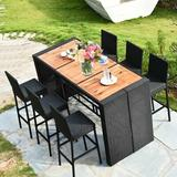 Ebern Designs Henshaw Patio 7 Pieces Dining Set Wood/Metal/Upholstered Chairs in Black/Brown/White, Size 43.0 H x 31.5 W x 73.0 D in | Wayfair