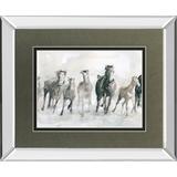"""34 in. x 40 in. """"Running Wild"""" By Carol Robinson Mirror Framed Watercolor Print Wall Art - Classy Art DM5794MF"""