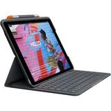 Logitech Slim Folio Protective Bluetooth Keyboard Case for iPad Gen 7 and 8 (Graphit 920-009473