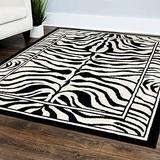 "Champion Rugs Zebra Print Rug Contemporary Area Rugs Zebra Rugs Large Zebra Rugs for Living Room Animal Print Rug Black White (5' 3"" X 7' 5"")"