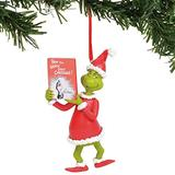 Department 56 Dr. Seuss The Grinch with Book Hanging Ornament, 3.25 Inch, Multicolor
