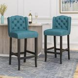 Red Barrel Studio® Castaic Bar & Counter StoolWood/Upholstered in Blue, Size 45.25 H x 20.5 W x 24.0 D in   Wayfair