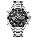 [Watches for Men ] GOLDENHOUR 108 Mens Watch - Casual Japanese Quartz Watches- Business Fashion Luxury - Digital Quartz Dual Time Display Wrist Watch (04)