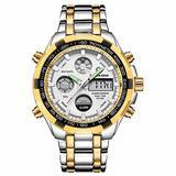 [Watches for Men ] GOLDENHOUR 108 Mens Watch - Casual Japanese Quartz Watches- Business Fashion Luxury - Digital Quartz Dual Time Display Wrist Watch (03)