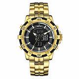 [Watches for Men ] GOLDENHOUR 121 Mens Watch - Business Fashion Luxury - Casual Japanese Quartz Watches - Digital Quartz Dual Time Display Watch (01)