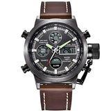 [Watches for Men ] GOLDENHOUR 103 Mens Watch - Casual Japanese Quartz Watches - Business Fashion Luxury - Digital Quartz Dual Time Display Watch(04)