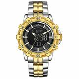 [Watches for Men ] GOLDENHOUR 121 Mens Watch - Business Fashion Luxury - Casual Japanese Quartz Watches - Digital Quartz Dual Time Display Watch (03)