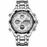 [Watches for Men ] GOLDENHOUR 108 Mens Watch - Casual Japanese Quartz Watches- Business Fashion Luxury - Digital Quartz Dual Time Display Wrist Watch (08)