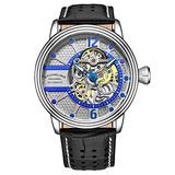 Stuhrling Original Mens Watch - Automatic Self Winding Dress Watch - Skeleton Watches for Men - Leather Watch Strap Mechanical Watch Analog Watch for Men (Blue/Black)
