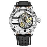 Stuhrling Original Mens Watch - Automatic Self Winding Dress Watch - Skeleton Watches for Men - Leather Watch Strap Mechanical Watch Analog Watch for Men (Black)