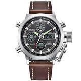 [Watches for Men ] GOLDENHOUR 103 Mens Watch - Casual Japanese Quartz Watches - Business Fashion Luxury - Digital Quartz Dual Time Display Watch (03)