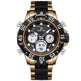 [Watches for Men ] GOLDENHOUR 119 Mens Watch - Casual Japanese Quartz Watch - Digital Quartz Dual Time Display - Business Fashion Luxury Wrist Watches (03)