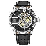Stuhrling Original Mens Watch - Automatic Self Winding Dress Watch - Skeleton Watches for Men - Leather Watch Strap Mechanical Watch Analog Watch for Men (Silver Black)