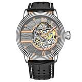 Stuhrling Original Mens Watch - Automatic Self Winding Dress Watch - Skeleton Watches for Men - Leather Watch Strap Mechanical Watch Analog Watch for Men (Black/Gray)