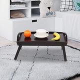 Henf Bed Tray Table Bamboo Lap Tray with Folding Legs, Portable Lightweight Breakfast Trays in Bed,Multipurpose Laptop Bed Tray Dinner Serving Food Eating Tray,Dark Brown