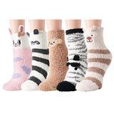 Womens Fuzzy Slipper Socks Soft Cabin Warm Cute Animal Pattern Cozy Fluffy Slipper Socks